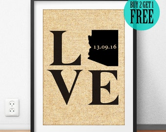 Personalized Burlap Print, Love State Prints, Wedding Gift, Anniversary Gift, New Apartment, Housewarming, Rustic Home Decor, Wall Art, CM37