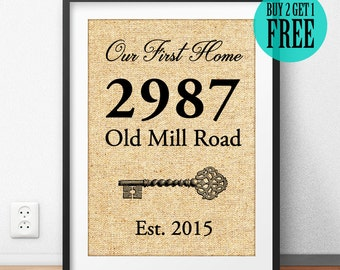 Our First Home, Burlap Print, Personalized House Warming Gift, New Home Decor, New House Gift, Address Sign, Wife Gift, Husband Gift, CM73