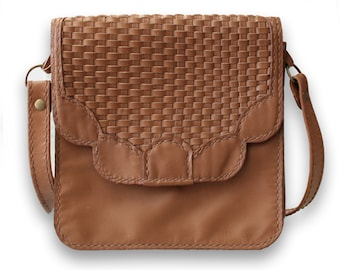 Leather Handbag with Hand Woven Details