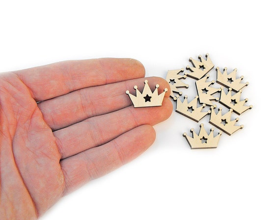 10x Mini Wooden Crown Shapes Star Cutout Wood Crowns
