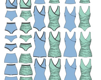 Swimsuit PDF Sewing Pattern First Crush Swimsuit Swim pattern PDF pattern crossover swimsuit nursing friendly swim sewing pattern