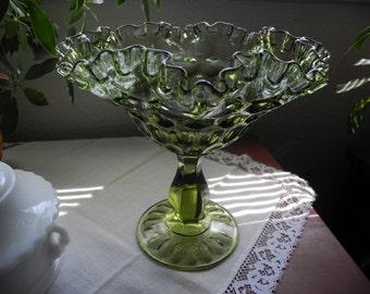 Fenton Thumbprint Large Green-Avacado Double Crimped Compote
