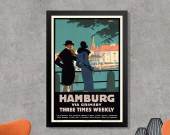 Hamburg via Grimsby Vintage Travel Advertising Poster Print