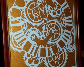 Workings of Time papercut
