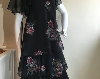 Vintage 1970s Black Floral Berketex Layered Chiffon Midi Dress Boho 10