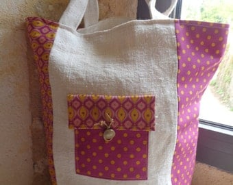 Washed linen beige and cotton tote bag printed deep purple and mustard-yellow