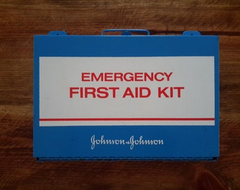 Metal Johnson & Johnson First Aid Kit Box