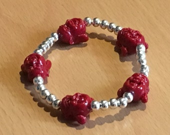 Buddha of Red coral bracelet