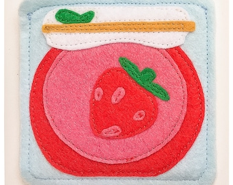 Breakfast coasters- Strawberry jam jar