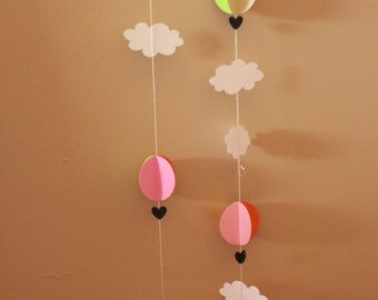 10ft HOT AIR BALLOON Garland--First Birthday--Baby Shower--Any Length--Any Color--Photo Backdrop Idea
