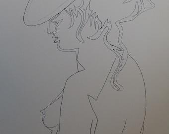 Jean COCTEAU: Woman's profile - original lithograph