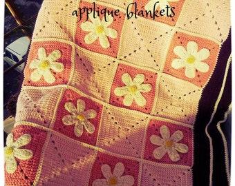 Applique floral blanket