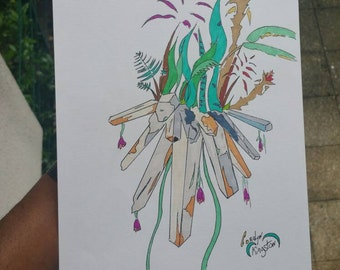 Crystal quartz & jungle flowers