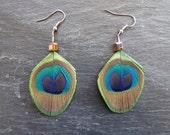 Boucles d'oreilles plumes de paon naturelles - perles en verre forme cube, reflets or