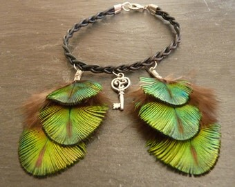Bracelet leather braided, feather Peacock, key Triskell - Peacock Feather Jewelry
