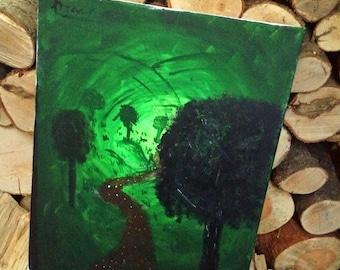 Abstract forest walk art piece