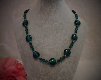 SALE !!! Czech Glass and Swarovski Crystal Beaded Necklace - Emerald Green