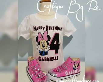 Mouse themed Birthday Shirt and Matching Pink Bling Converse