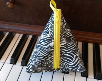 Zebra print triangle pouch