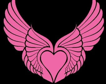 Heart with Wings Vinyl Decal