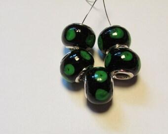 5 glass beads fits european bracelet - LHJ1-4
