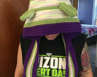 Purple and green crochet hat/scarf