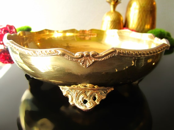 Vintage art nouveau brass gold bowl tray footed centerpiece