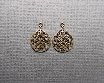 Brass Filigree Teardrop, Pendant Charm, Leaves, Bohemian, Boho,  Antiqued Brass, One Pair