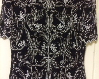 Vintage beaded black silk top
