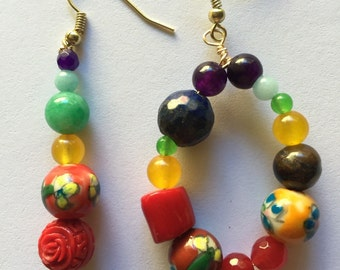 Handmade Earrings Chakra Earrings Inspiration Coral Earrings Colorful Earrings Ceramic Earrings Jade Earrings