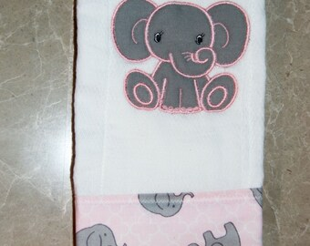 Elephant Burp Cloth Baby pink grey Embroidered Monogram Spit rag