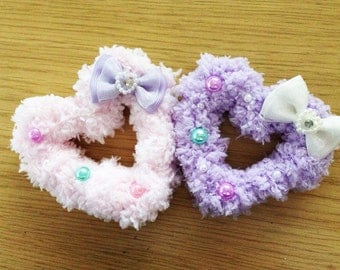 Kawaii Fairy Kei Fluffy Heart Hair Clip, Sweet Lolita, Soft Decora, Mahou Kei, Harajuku etc inspired