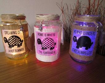 Tortoise Collection LED Light Up Mason Jar Mood Light for Spring Flowers