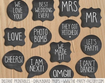 Chalkboard Wedding Photo Booth Props, Instant download, printables