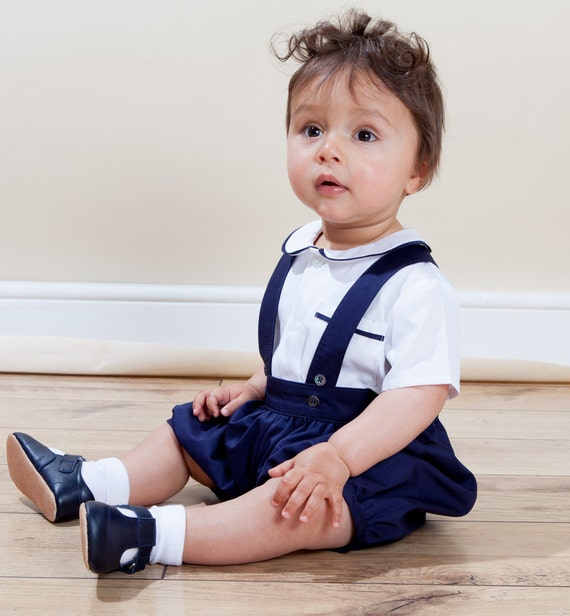 William shirt onesie romper pants set 100 cotton for Baby boy blue shirt