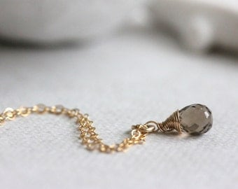 Tiny Smoky Quartz Drop, Brown Gemstone Necklace, Gold Filled Chain