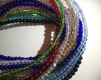 SALE, 8 Colorful Strands Of Glass Round Beads