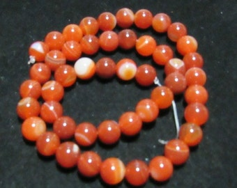 1 Strand 8mm Round Dyed Natural Striped Agate Beads Strands. Shades of Rust  (B15j2)