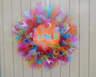 Mesh Wreath, Rainbow Wreath, Spring Wreath, Summer wreath, rainbow