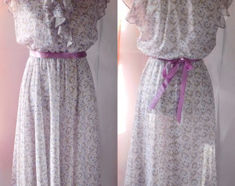 Vintage Floral Print Sheer Spring Summer Dress 1970s Its A Lehigh Sz 12 lavender & white