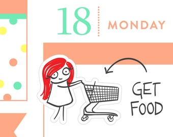 P009-Grocery shopping stickers, planner stickers, groceries, get food, shopping cart stickers, MINI size, 24 stickers, PPC156
