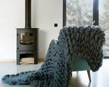 SALE! Chunky Knit blanket, Chunky wool blanket, Knitted blanket, Super chunky knit blanket, Knit Throw Blanket, extreme chunky yarn blanket,