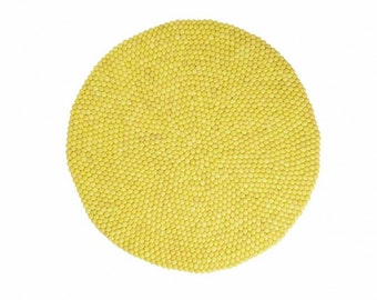 Shristi: Round Felt Ball Rug Carpet in Yellow,Available in All Sizes and Colors