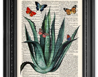 Aloe vera with butterflies, Dictionary art print, Vintage book print, Botanical print, Botanical art, Home Wall Decor, Gift poster [ART 072]
