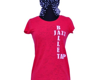BALLET/TAP/JAZZ Burnout Tee - Red