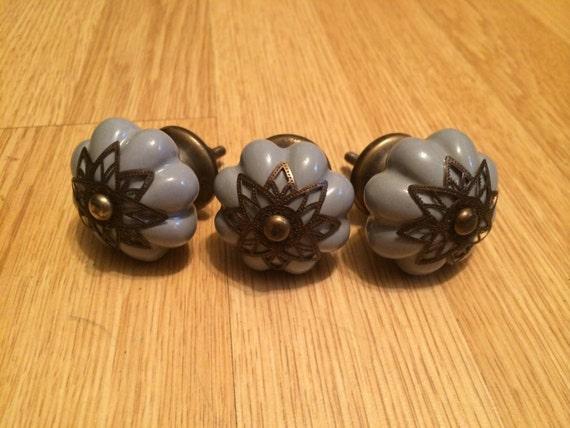 Set of 3 Gorgeous Ceramic and Metal Ornate Drawer Pulls Pull Knobs Knob Lavender Lilac Flower