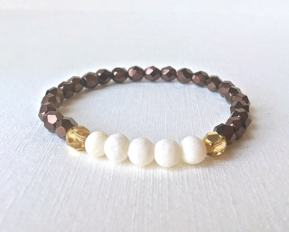 Essential Oil Diffuser Bracelet - Neutral tones - white sponge coral with gold and chocolate brown faceted czech beads stretch bracelet