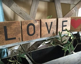 wood scrabble home decor