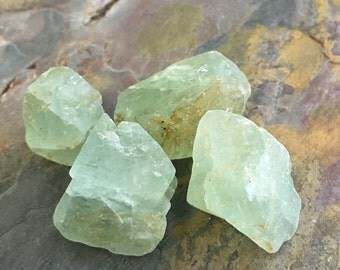 4 Natural Green Fluorite Large Gemstone Rough Nuggets