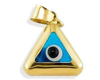 14k Yellow Gold Triangle Turquoise Evil Eye Pendant | Evil Eye Jewelry, Evil Eye Charm,Gold Evil Eye,Turkish Evil Eye,Greek Evil Eye Pendant
